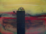 Creosote Post Capped with Box Turtle, Ink and Acrylic on Paper, 28� x 32�