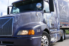 Image of a lone star college Truck for the Truck Driving Academy