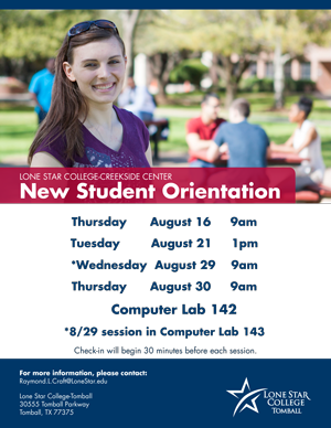 New Student Orientation Creekside Center August