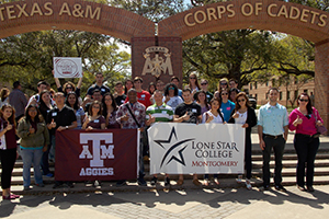 students out in front of Texas A&M