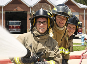 Three LSC Montgomery Fire Science students