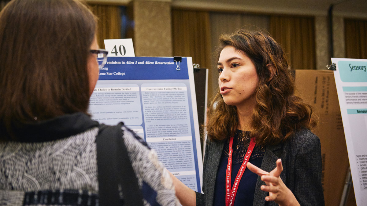 LSC-Tomball student Brianna Greenberg presents research on the Alien movie series at the National Collegiate Honors Conference.