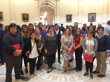 LSC-Tomball students stand in the Texas capitol rotunda with LSC-Tomball President Dr. Lee Ann Nutt during Community College Day 2017