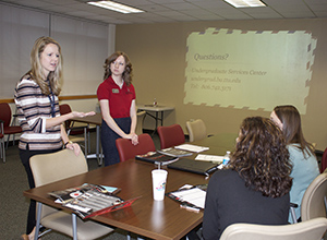 Lone Star College-Montgomery�s new Maverick TRAC Center allows representatives like these from Texas Tech University to meet with LSC-Montgomery students and staff on transfer opportunities and transitioning to a university. LSC-Montgomery�s TRAC Center is hosting several university presentations each week throughout the semester. (Pictured above on far left is Emily Whitehead, admissions counselor with Texas Tech, and Megan Walker, academic advisor with Texas Tech.)