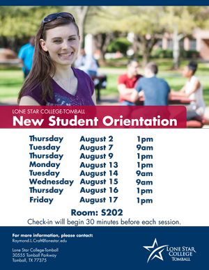 New Student Orientation Tomball August