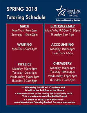 Spring 2018 Tutoring Schedule