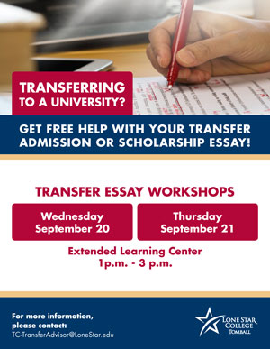 Transfer Essay Workshops Wed. Sept 20 and Thurs Sept 21 at the Extended Learning Center at 1pm to 3 pm
