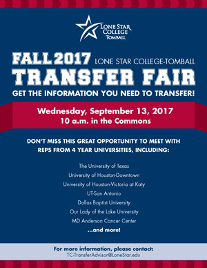 Fall 2017 LSC-Tomball Transfer Fair Wed. September 13 at 10 am in the Commons