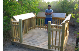 Eagle Scout Akshay Fegade and the outdoor observation deck