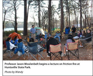 Professor Jason Moulenbelt begins a lecture on friction fire at Huntsville State Park