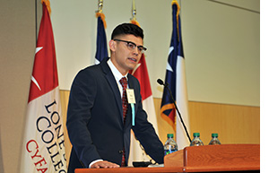 Diego Zaragoza giving speech