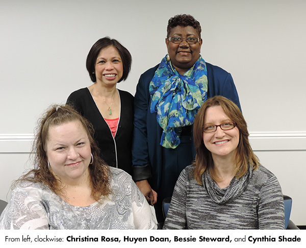 Staff Excellence winners Christina Rosa, Huyen Doan, Bessie Steward, and Cynthia Shade