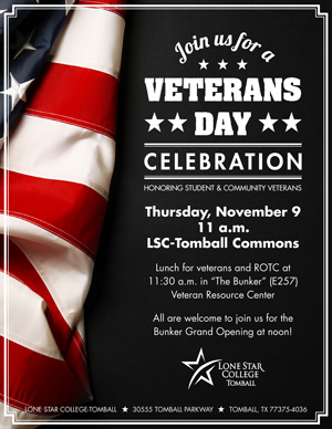 Veteran's Day Celebration, Thursday, Nov 9, 11 am, LSC-Tomball Commons