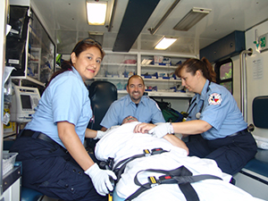Emergency Medical Services class in ambulance