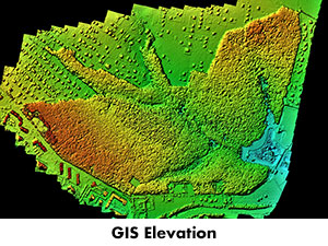 Elevation map produced from GIS data