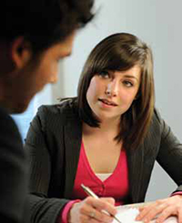 woman counselling a student