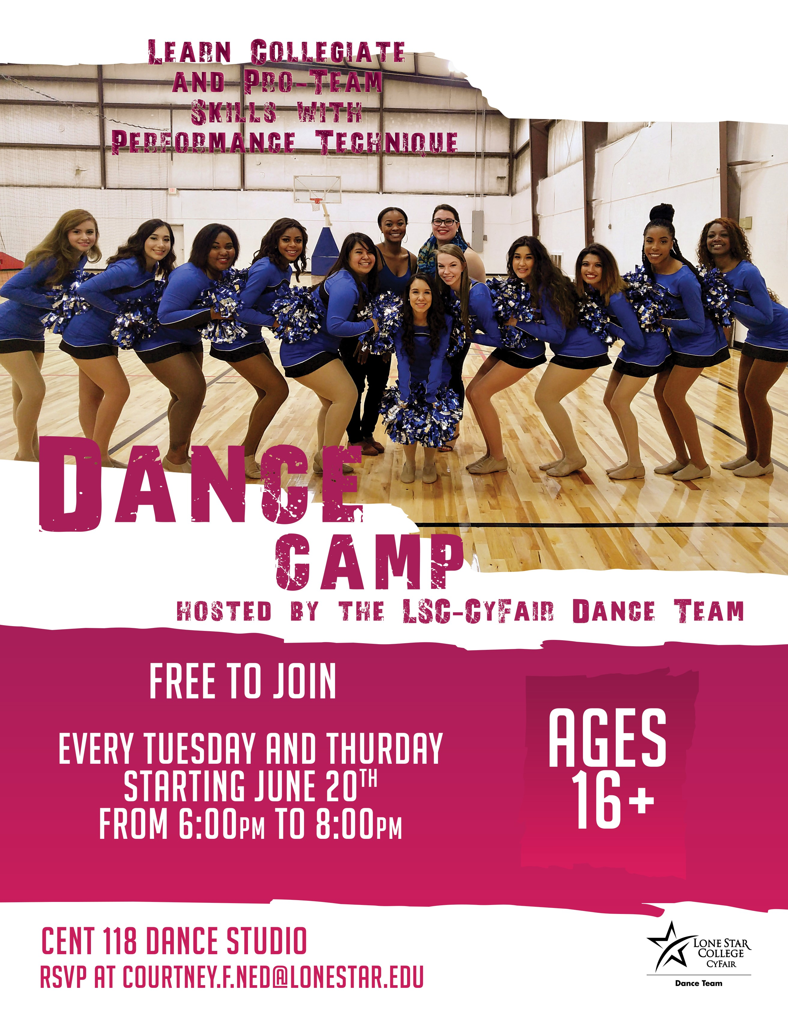 Free Summer Dance Camp beginning June 20th at 6 pm. For more details email CF-RecSports@lonestar.edu.