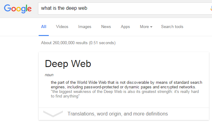 "screenshot of Google search ""what is the deep web"""
