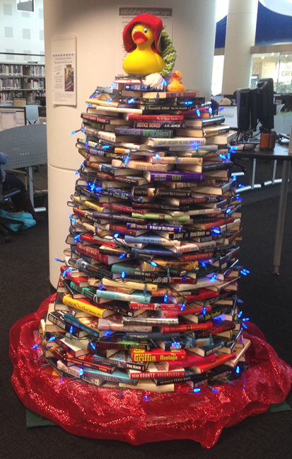 holiday library book tree