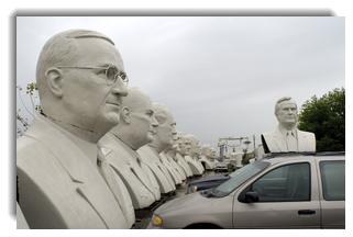 Busts larger than life size by David Adickes