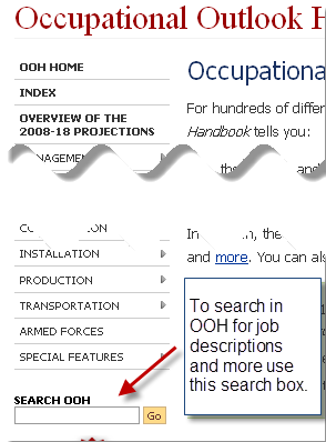 Occupational Outlook Handbook search box