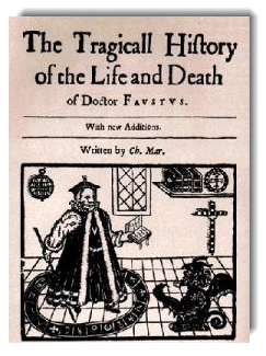 "Cover from 1604 ed. of Christopher Marlowe"" The Tragical History of Dr. Faustus """