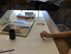 photo of students using the dry erase tables