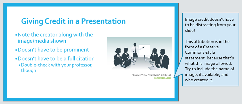 Image is a screenshot of a PowerPoint slide reiterating the notes about how to add subtle, informal attribution for images in a presentation. There is a graphic of people in a business meeting; small text below it gives credit to Vector Open Stock.