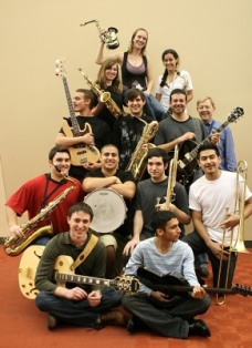 Jazz band members with instruments