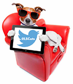 dog on chair holding ipad with Twitter logo and @LSCots