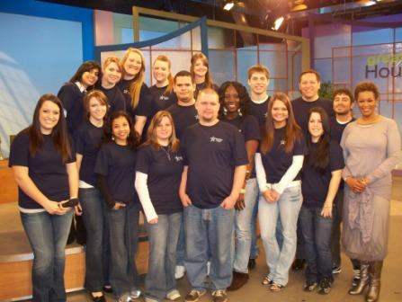 Students in Bob Lynch's Mass Communications class from LSC-CyFair and online visit with Deborah Duncan, host of Great Day Houston, as part of a field trip to the studios of KHOU Channel 11.