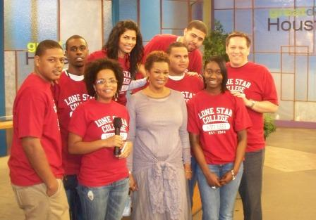 Students in Bob Lynch's Mass Communications class from LSC-North Harris visit with Deborah Duncan, host of Great Day Houston, at KHOU Channel 11 studios.
