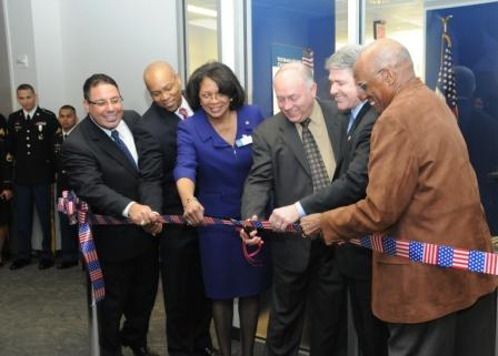 Officials cut the ribbon as part of the grand opening ceremonies for the new Lone Star College System Veterans Affairs Center.