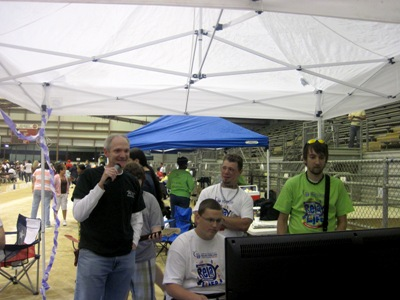 Playing Guitar Hero at Relay for Life
