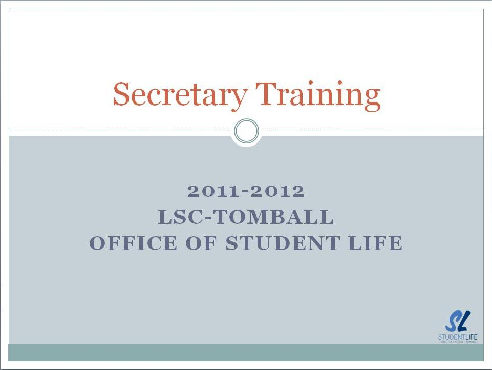 Secretary Training