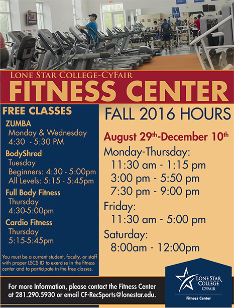 Fitness Center Hours and Classes for Fall 2016