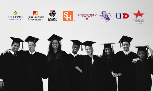 university center partner logos with photo of graduates