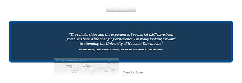 screenshot of testimonial quote section