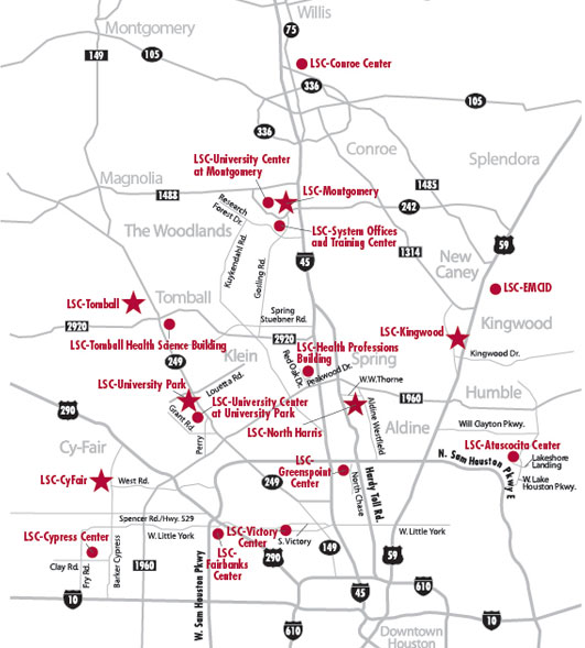 Lone Star Colleges Location Maps