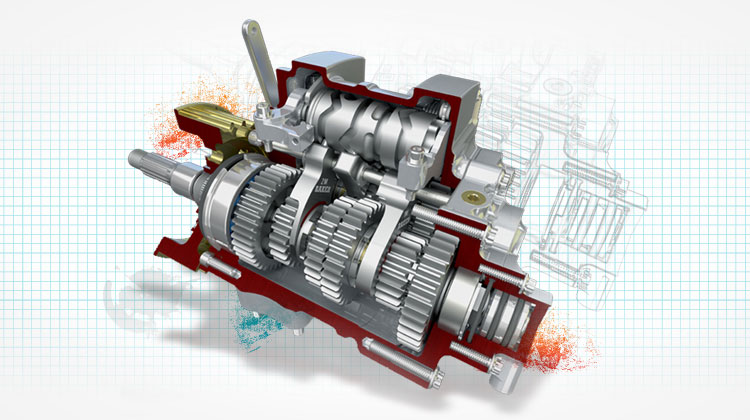 CAD rendering of an engine