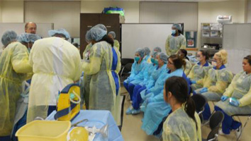 students in cadaver lab setting
