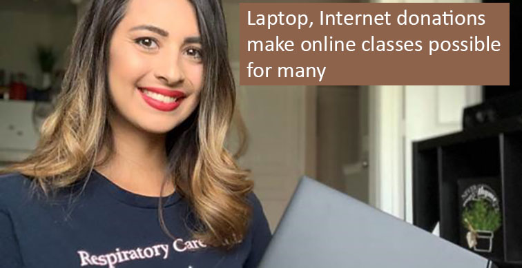 Laptop, Internet donations make online classes possible for many