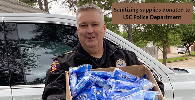 Sanitizing supplies donated to LSC Police Department