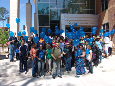 To raise awareness of the impact of child abuse, Lone Star College-Montgomery's Human Services Student Organization, along with other supporting students, staff, and faculty, released 71 blue balloons in honor of the 71 children who have died as a result of child abuse and/or neglect in the greater Houston area in the past year.