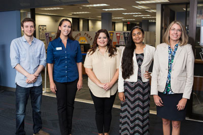 from left to right: Bryan Smelley, PT Specialist II;  Heidi Ewing, PT Advisor;  Maribel Zavala, PT Advisor;  Karen Trejo, full-time Staff Assistant I;  Amy Griffin, Director