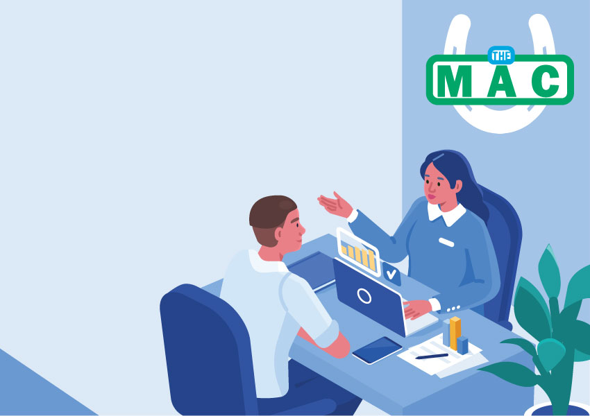 Illustration depicting a woman helping a man with the MAC logo hanging on the wall.