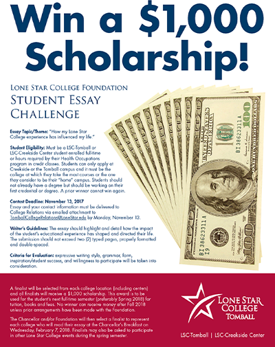 Win a thousand dollar scholarship by writing an essay! Student Essay Challenge