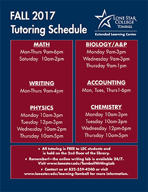 Fall 2017 Tutoring Schedule Flyer