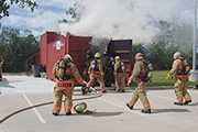 Student Firefighters training in the new flashover chamber