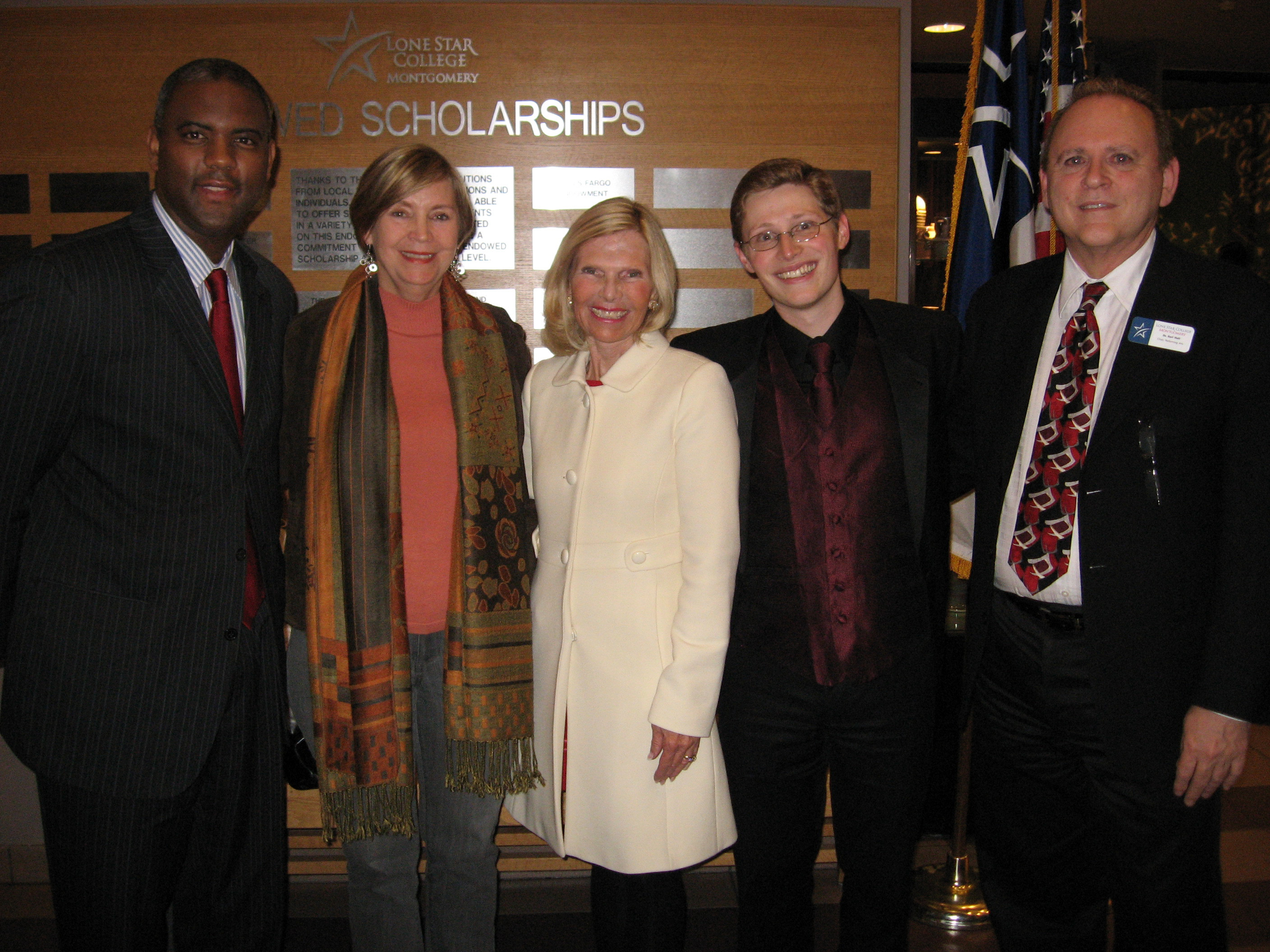 Dr. Austin Lane, president of Lone Star College-Montgomery, Mary Jo O�Neal, development director of Interfaith, Dr. Ann Snyder, CEO and president of Interfaith, Dominick DiOrio, director of Choirs LSC-Montgomery and Dr. Earl Holt, chair of the performing arts at LSC-Montgomery.